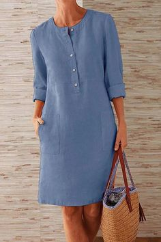 Buttoned Down Pockets Plus Size Dresses Shop Causal Dresses - Shift Casual Causal Dresses online. Knee Length Dresses, Dresses With Sleeves, Casual Dresses, Fashion Dresses, Hijab Casual, Casual Chic, Cute Casual Outfits, Casual Pants, Mini Vestidos