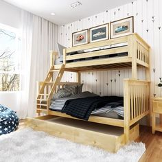 Harriet Bee Wardingham Bunk Bed with Drawers Bed Frame Color: Gray, Size: Twin over Full Bunk Beds With Drawers, Bunk Beds With Storage, Bunk Bed With Trundle, Full Bunk Beds, Bunk Beds With Stairs, Kids Bunk Beds, Bed Storage, Storage Drawers, Queen Size Trundle Bed