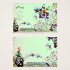 ROMANTICA Elegant Floral Basket,Pansies Green Business Card #beauty #nature #wedding #event #flowers #pansie