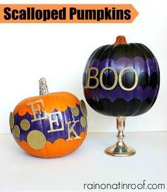 Easy! Scalloped Pumpkins {rainonatinroof.com} #frogtape #shapetape #halloween #pumpkin
