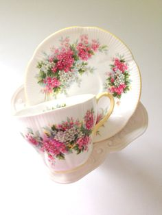 Vintage English Royal Albert Blossom Time Series Hawthorn Teacup and Saucer Tea Party