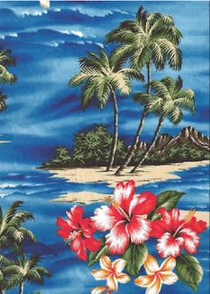 21mauna lepa Tropical Scenic Print; Hibiscus Flowers, palm trees & ocean views on a Hawaiian cotton broadcloth fabric.Add Discount code: (Pin10) in comment box at check out for 10% off sub total at BarkclothHawaii.com