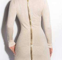 Stunning Long Sleeve Jumper Dress Full back Gold Zip Beige
