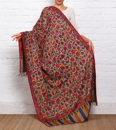#Charcoal Kani Embroidered Pure #Pashmina #Shawl by #Indicraf at #Indianroots Was $6,500 | Is $3,253