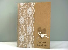 Rustic wedding day card - handmade wedding congratulations card - lace hessian burlap vintage