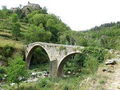Pont du Diable sur la rivière l'Ance.Hameau de Chalencon, appartenant à la commune de Saint-André-de-Chalencon, Haute-Loire, France (région Auvergne)
