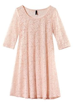 Love ... Love .... LOVE this Pale Pink Ruffle Half Sleeve Above Knee Lace Dress!  Would be so pretty with a white sweater or cardigan #pink #lace #fashion