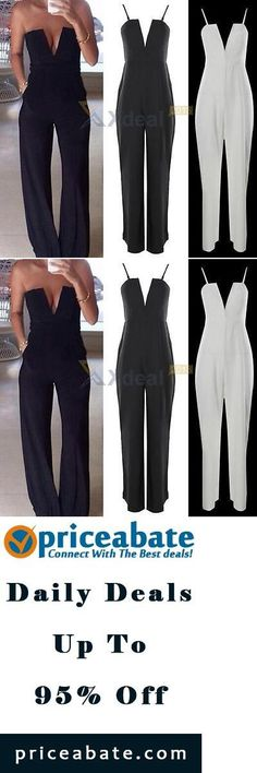 #priceabatedeals XD# Womens V Neck Strapless Sleeveless Bodycon Jumpsuit Playsuit Romper Clubwear - Buy This Item Now For Only: $13.67