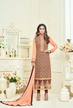 Brown Indian Suit With Dupatta