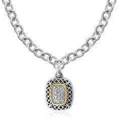 Designer Sterling Silver and 14K Yellow Gold Cushion Shape Pave Diamond Pendant: 18 inches