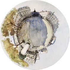 Aquarelle 20x20cm. Laurent Letourmy, Paris, 2020.