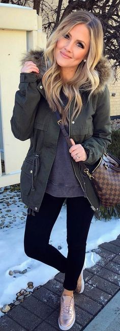 #winter #outfits  gray coat and black tights