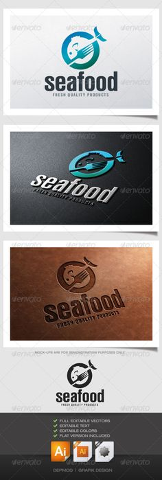 Sea Food Logo  #GraphicRiver         Logo of a fork and a fish merged together. Can be used for many kind of project. Full vectors, this logo can be easily resize and colors can be changed to fit your colors project. Flat version for print also included. The font used is in a download file in the package.  	 Font : fontpark /en/font/ni