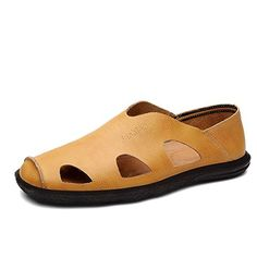 Summer Sandals/Mens leather openwork shoes/Soft casual shoes/Air Britain cool shoes-A Foot length=26.8CM(10.6Inch) - Brought to you by Avarsha.com