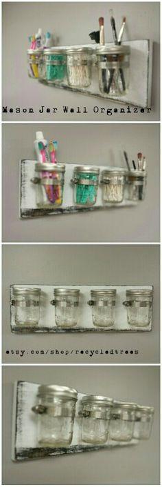 Mason jar wall organizer