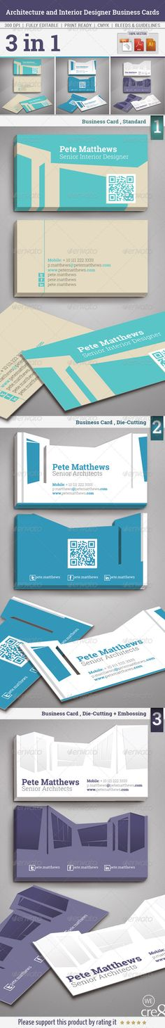 Architecture and Interior Designer Business Cards  #GraphicRiver         Description: This is a complete print ready Business Cards | 3 in 1. Clean and modern style look. suitable for Architecture and Interior Design company.    Features: 1-Easy to change the color. 2-3mm bleed, CMYK 300dpi. 3-Print ready. 4-Die-Cutting and Embossing. 5-Landscape Design.    Format: 1-Illustrator cs5 (.ai) 2-Illustrator (.eps) 3-Adobe Acrobat Reader (.pdf)    Dimension: 9cm x 5cm    Font Used: Roboto Slab…