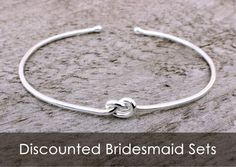 Sterling Silver Love Knot Bracelet, Bridesmaid Jewelry Set or Single, Tie the Knot Bracelet, Tie the Knot Bridesmaid by MountainMetalcraft on Etsy https://www.etsy.com/listing/188854393/sterling-silver-love-knot-bracelet
