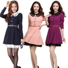 Korean Women Double-Breasted Slim Elegant Lace Long Sleeve Dress With Belt Cute Fashion, Teen Fashion, Golas Peter Pan, Estilo Lady Like, Casual Outfits, Cute Outfits, Dress Link, Latest Dress, Korean Women