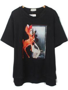T-Shirt mit Hirsch-Muster, schwarz EUR€13.50