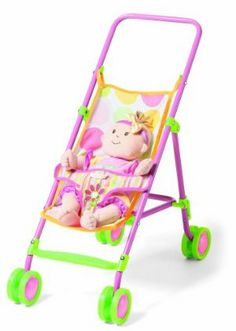 Manhattan Toy Baby Stella Stroller by Manhattan Toy. $33.89. Collaspible frame for easy storage. Part of the baby Stella collection. Baby Stella always makes playtime fun. All Baby Stella products inspire nurturing play. Inspires nurturing play in young children. From the Manufacturer                Walks with Baby Stella are much smoother for caregivers thanks to this high-quality pink and green stroller. Durably constructed, with collapsible frame and plastic wheels.   ...