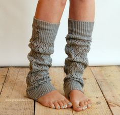 LouLou - light grey: Open-work Leg Warmers with Antique Silver Metal Buttons - legwarmers boot socks