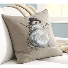 Hand-Painted Snowman Linen Pillow Cover | Pottery Barn