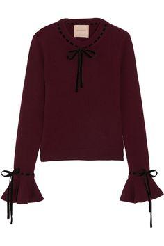 Roksanda | Heanor velvet-trimmed wool and cashmere-blend sweater | NET-A-PORTER.COM