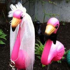 Bride & Groom Flamingos