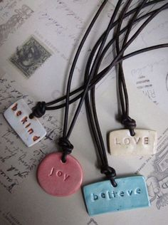 Handmade kiln fired ceramic pendant necklace with choice of inspiring words - by PattiMakes, $18.00: