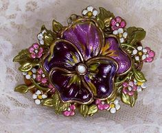 Hand Painted Pansy Flower Pin Brass by theresamariejewelry on Etsy