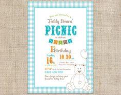 Teddy Bears Picnic Printable Invitation Blue - CocoElla Designs on Etsy