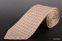 KITON Hand Made Beige Silk Hexagon Medallion Seven Fold Tie NEW