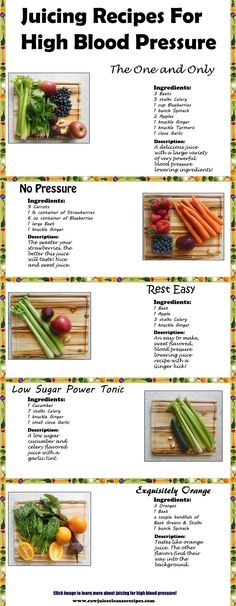 5 Powerful Juice Recipes To Lower High Blood Pressure: plus more specific info about the foods and juices that help to lower blood pressure!