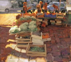 Kim English Artist | Kim English, Market, Honfleur, oil, 13 x 14.