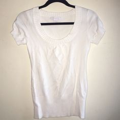 Charlotte Russe short slv sweater White, stretch comfy cotton. Ribbed scoop neckline, sleeves and banded bottom. Charlotte Russe Tops Blouses