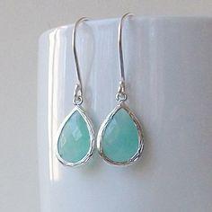 Aqua Blue Jewel Earrings Aqua Earrings Mint Green by PeriniDesigns, $19.00