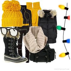 Snow outfit with a pop of yellow!