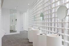 Amusing Bathroom Glass Bricks Contemporary - Best Ideas ... Glass Brick, Glass Furniture, Glass Bathroom, Countertops, Bathtub, Contemporary, Wall, Projects, Home Decor