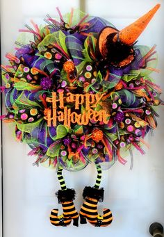 HUGE with BOOTS Wicked Witch Halloween Deco Mesh Wreath - Witch Wreath - Halloween Decor - Witch Leg and Witch Hat Wreath - Fall Deco Mesh on Etsy, stuffs Costume clothes Halloween Mesh Wreaths, Deco Mesh Wreaths, Holiday Wreaths, Door Wreaths, Burlap Wreaths, Holidays Halloween, Halloween Crafts, Halloween Decorations, Halloween Ideas