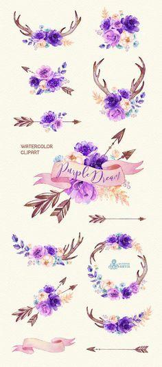 Purple Dream. Watercolor floral Clipart, peony, arrows, antlers, bouquets, wedding, flowers, invite, violet, card, diy clip art, boho