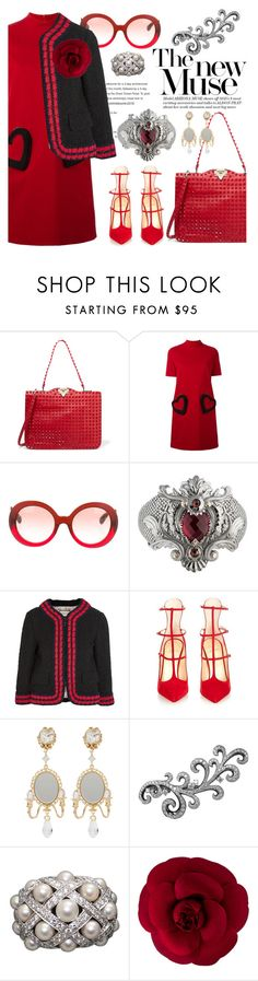 """color me red"" by pensivepeacock ❤ liked on Polyvore featuring Valentino, Love Moschino, Prada, Stephen Webster, Gucci, Christian Louboutin, Dolce&Gabbana, Plukka and Chanel"