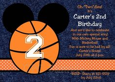 Mickey Mouse Basketball Birthday Invitations, Party Decorations, Party Supplies, Thank You Cards, by Cutie Patootie Creations   www.cutiepatootiecreations.com