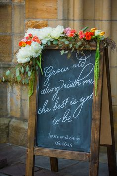 Rustic Chalkboard Sign With Floral Garland