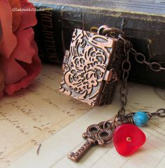 Antique Copper Long Chain Locket Necklace, Vintage Copper Locket Treasure Chest on Etsy, $25.00