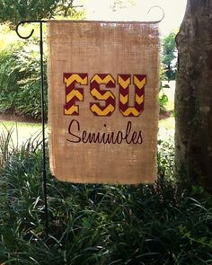 FSU Burlap Outdoor Flag by GreenEyeDesignsx2 on Etsy, $25.00 Florida State University, Florida State Seminoles, Embroidery Ideas, Embroidery Applique, Gate Decoration, Burlap Flag, Garnet And Gold, Sweet Home Alabama, Outdoor Flags