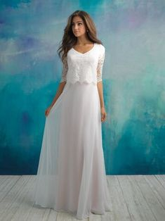modest wedding dress perfect for lds temple wedding soft flowy aline skirt with loose lace top and elbow length lace sleeves by allure
