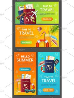 Summer Travel and Tourism Banner. Presentation