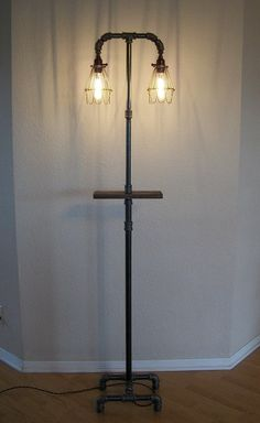 Industrial Floor Lamp with Shelf by Splinterwerx on Etsy, $325.00