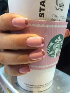 Charming Nude Paint With Metallic Pink #Frenchmanicure