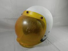 Vintage Motorcycle Helmet Bell RT with Bubble Shield Super Visor 1978 White and Yellow by WesternKyRustic on Etsy